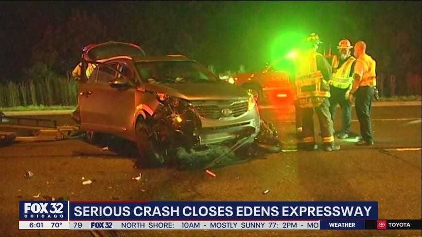 3 motorcyclists ejected, critically hurt in Edens Expy. crash