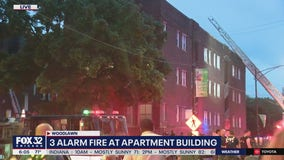 Crews battle 3-alarm blaze at Woodlawn apartment building