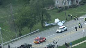 Small plane lands on road in Palatine