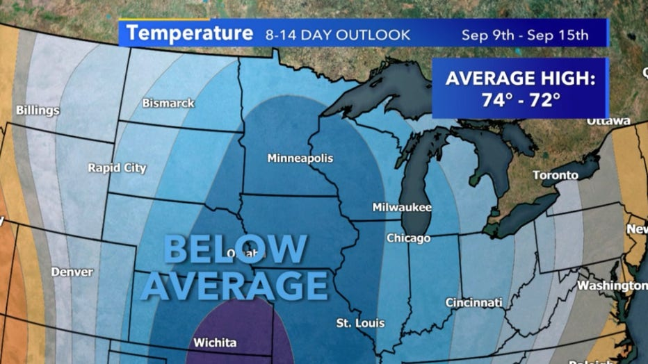 8-14 temperature outlook for September 9-15