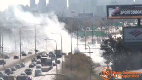 3 hurt after fire erupts under Kennedy Expressway at Belmont