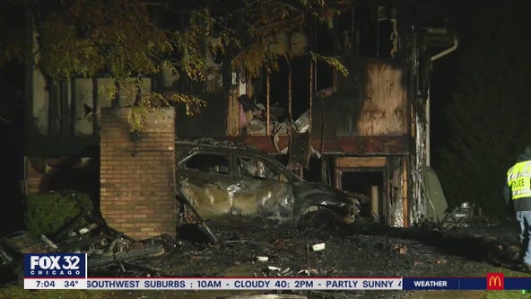 Tinley Park home bursts into flames after driver crashes into garage, runs from scene