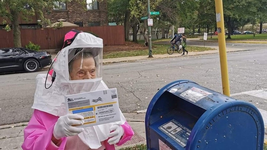 102-year-old former CPS worker dresses in hazmat suit to vote