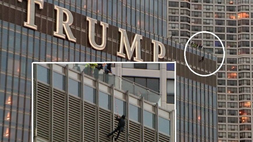 Man who hung off Trump Tower for more than 13 hours escapes from private ambulance, located hours later