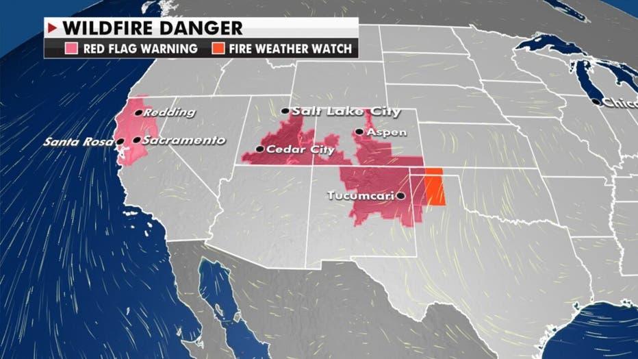 Wildfire danger map for Thursday