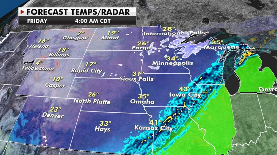 Forecast temps for Friday