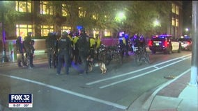 Peaceful protest at Northwestern University after clash with police