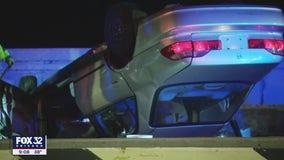 Man injured in rollover crash on Lake Shore Drive