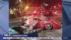 Occupants of a rented red Ferrari suffered minor injuries in Lake Shore Drive roll-over crash