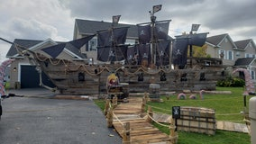 Father builds his daughter massive, 50-foot pirate ship for Halloween