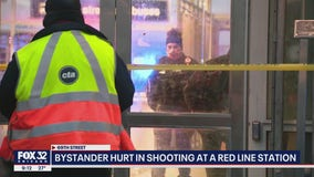 Bystander hit by stray gunfire during shootout at Red Line station at 69th Street