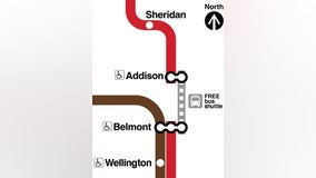 Shuttle buses to replace Red Line service between Belmont, Addison for next two weekends