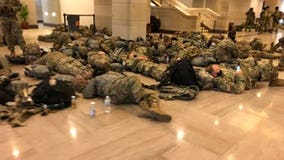 National Guard troops sleep on Capitol floor as House nears Trump impeachment vote