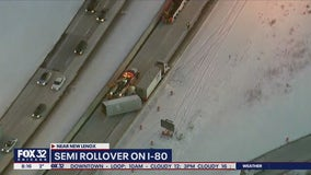 I-80 reopens after semi rolls over near I-355, injuring driver