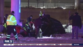 Two people killed, two others injured when car falls 40 feet off Chicago-area expressway