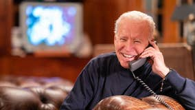 President Joe Biden chats with troops overseas watching the Super Bowl