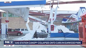 Gas station canopy collapses onto cars in Elmwood Park
