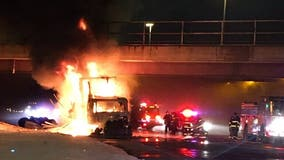 Semitrailer fire on Bishop Ford shuts down inbound lanes at 130th