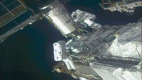 Astronauts perform spacewalk to prepare ISS for new solar wings