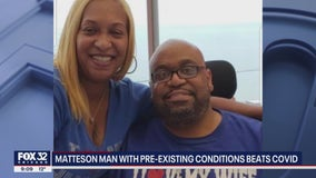 Matteson man with pre-existing conditions beats COVID, reunites with wife after spending weeks in the hospital