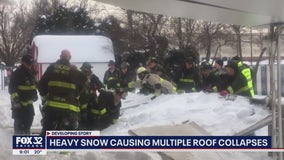 Man dies after snow-covered awning collapses at off-track betting site