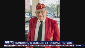 Late WWII veteran honored by the raising of the flag all across the world