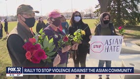 Hundreds gather in support of Asian Americans at rally against hate