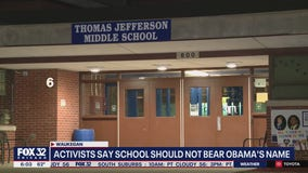 Community activists protest naming suburban middle school after Barack and Michelle Obama