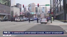 Police try to pull over Maserati, and passenger and driver jump out and run off