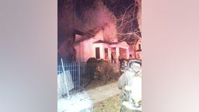 Firefighter OK after partially falling through floor of burning West Englewood home