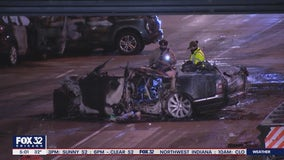 5 dead in pair of fiery, wrong-way Eisenhower crashes Monday morning