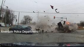 Captured on dashcam: Police squad struck by speeding driver