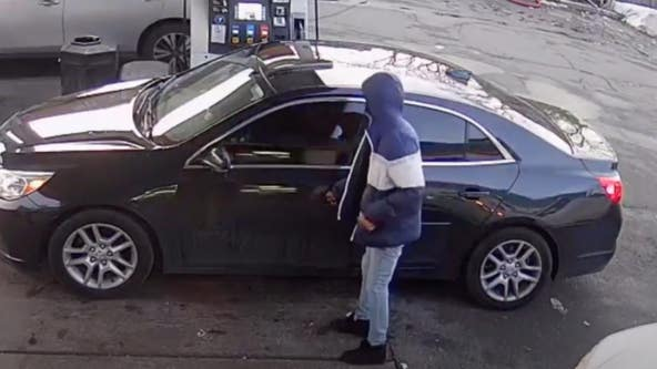 Video shows man steal car at South Shore gas station
