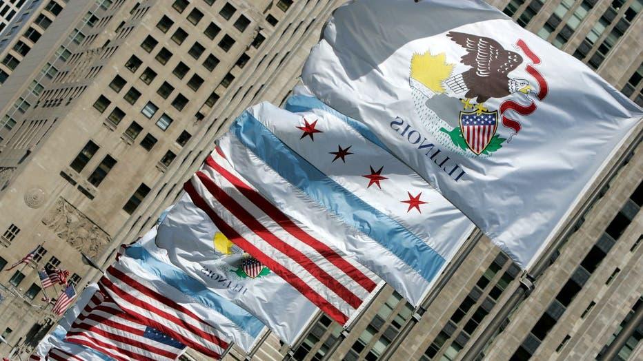 Flags on Michigan Avenue bridge