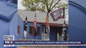 Hammond man flies explicit, political flags in yard across from public park