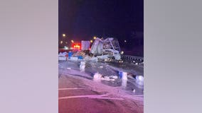 1 seriously injured in double semi crash, paint spill in NW Indiana