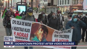 Protesters gather at CPD headquarters, Millennium Park after release of fatal shooting video of Adam Toledo