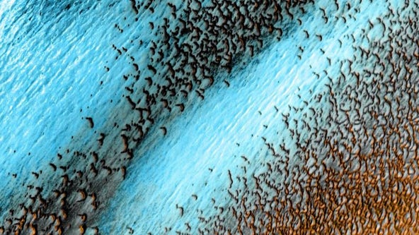 NASA shares stunning image of blue dunes on Mars