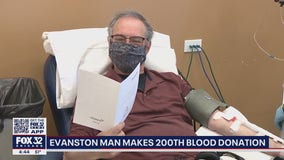 Evanston man donates blood for the 200th time