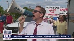 Community members protest downsizing of Hammond hospital