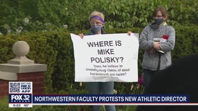 Northwestern faculty members protest the school's new athletic director