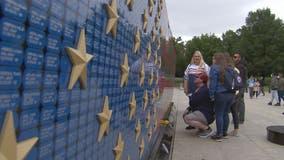 US flag memorial displays 7000 dog tags in honor of fallen service members