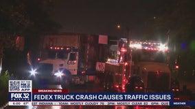 FedEx truck crash snarls traffic on Kennedy Expressway