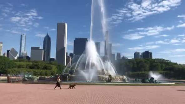 Water seen flowing from Buckingham Fountain
