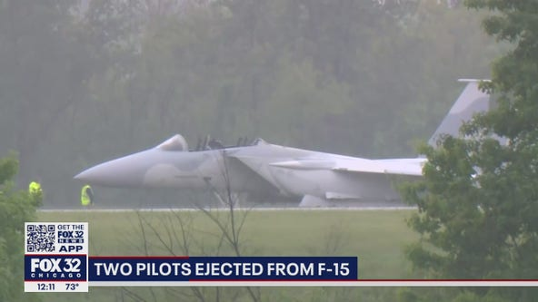 2 pilots eject from F-15 fighter jet at Illinois airport