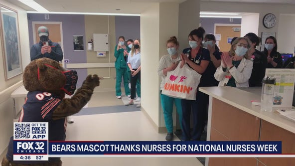 Chicago Bears mascot visits local nurses for National Nurse's Week