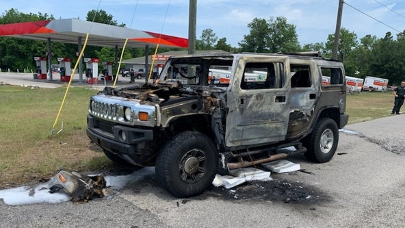 Hummer bursts into flames just after driver filled up containers of gasoline in Homosassa, firefighters say