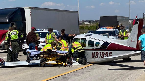 Plane makes emergency landing on I-355, injuring 3 passengers