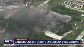 Industrial fire forces residents to evacuate in Morris
