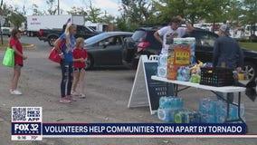 Volunteers help suburban communities torn apart by tornado